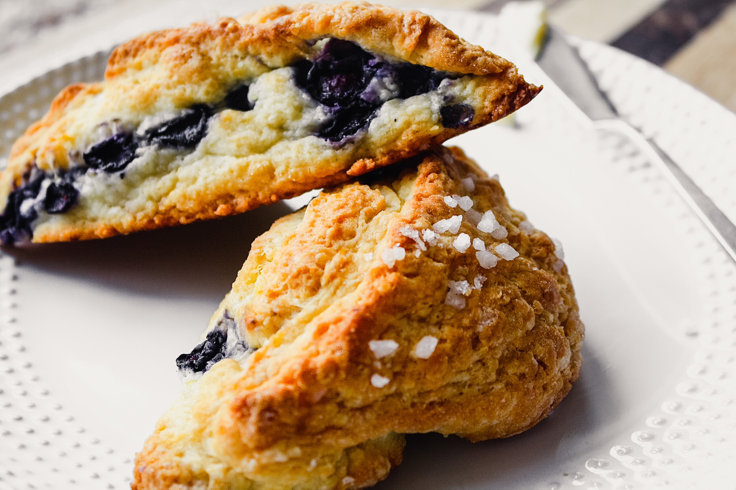 Photograph of healthy low fat scones stacked on a white plate
