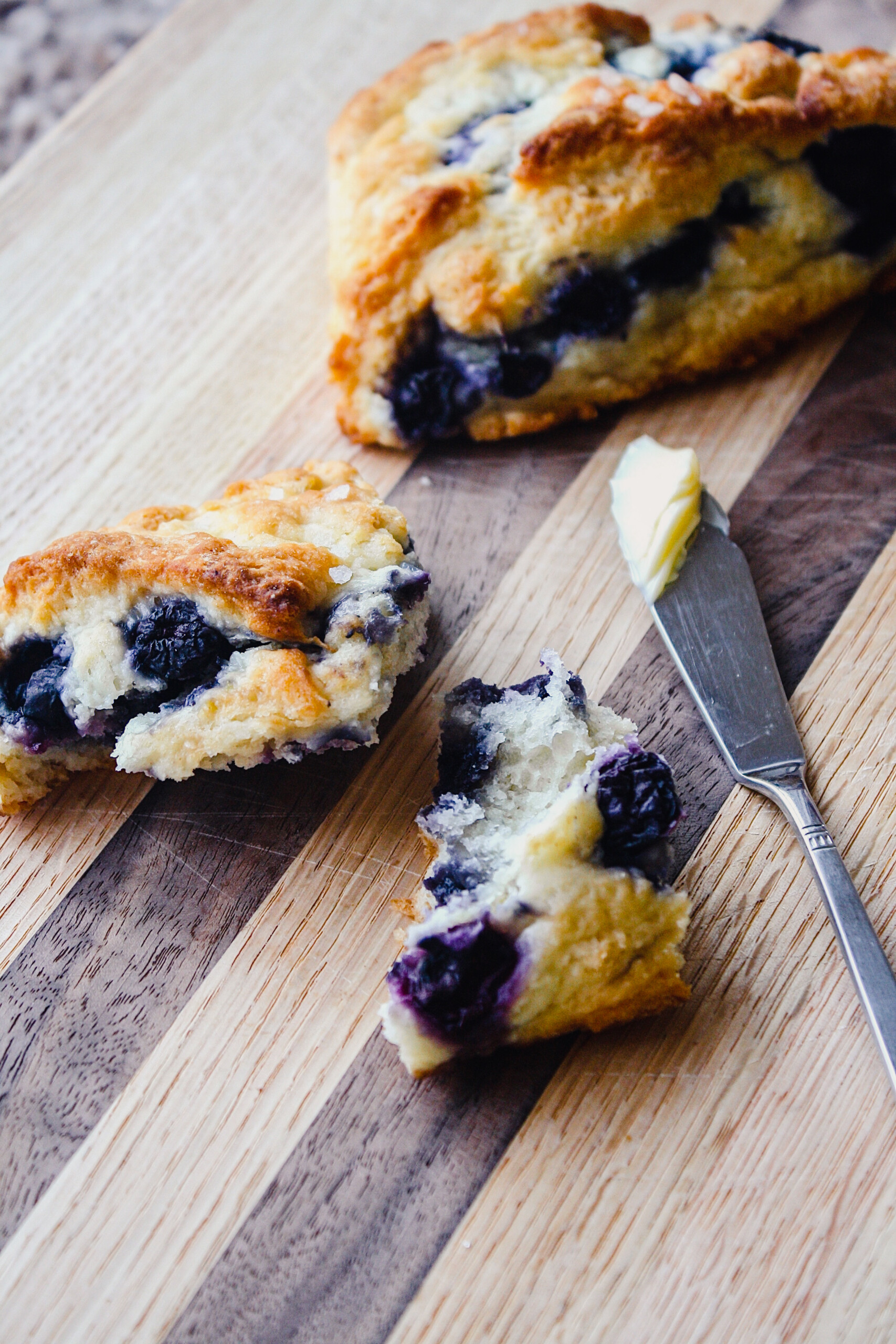 Photograph of healthy low fat scones on a wooden board