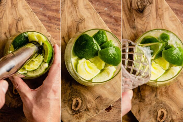 grid of three images showing how to muddle limes with sugar, muddled limes in a rocks glass, and adding cachaca to a cocktail glass with lime