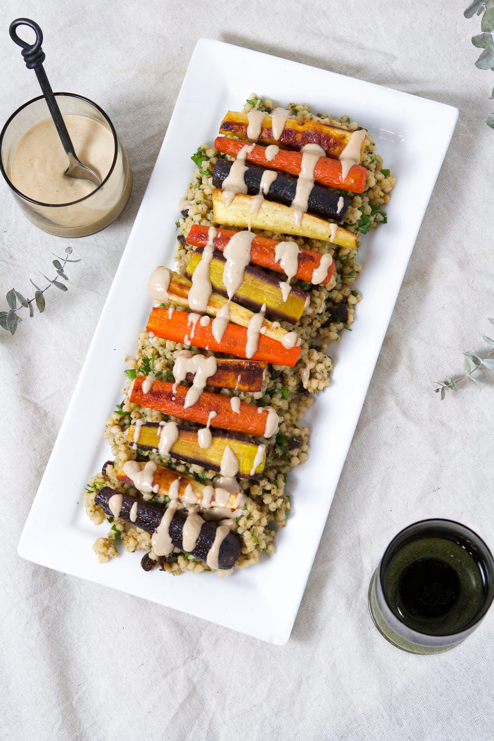 Roasted Root Vegetables & Sorghum Pilaf with Tahini Sauce   Zestful Kitchen