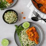 This Lightened Chicken Tikka Masala is full-flavored, healthy, and even a great make ahead meal. Atop a bed of cilantro-lime sorghum, this is classic, yet reinvented.   from Lauren Grant of Zestful Kitchen