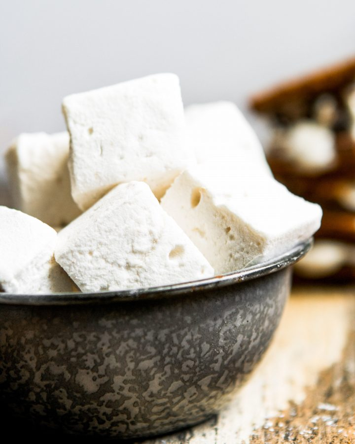 Photograph of homemade marshmallows in a metal bowl