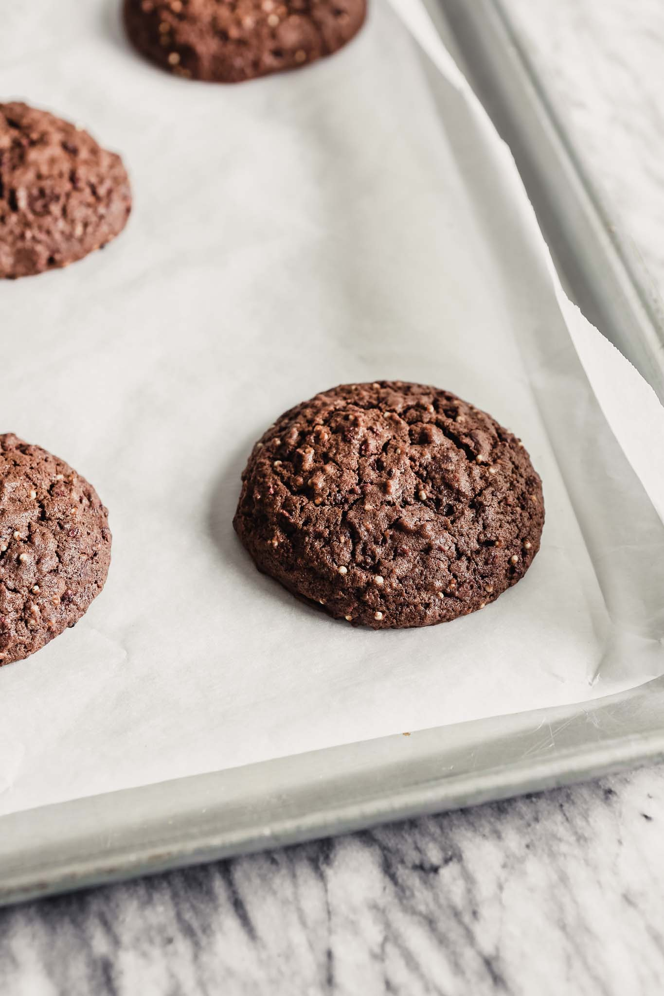 Photograph of baked Mexican chocolate cookies on a baking sheet