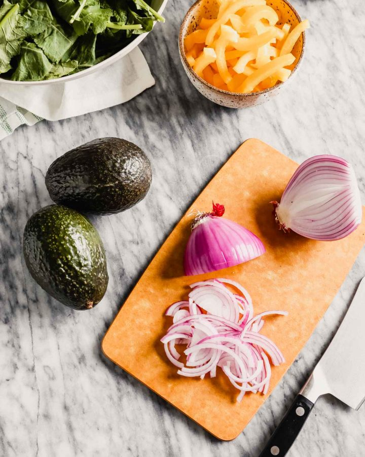 Photograph of ingredients being prepped on a cutting board