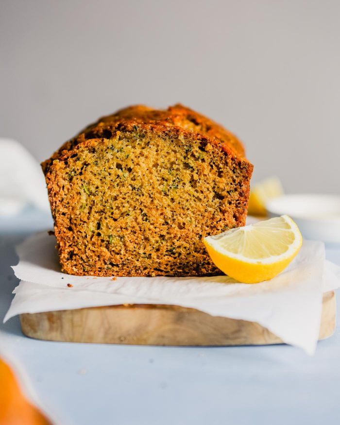 lemon poppyseed bread on a piece of parchment paper