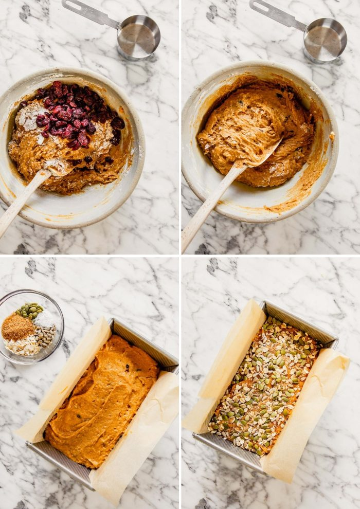 grid of step-by-step images showing how to make sweet potato bread-mixing cranberries into the orange batter, then spreading the batter into a loaf pan