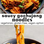 Collage of two photos of gochujang noodles with text overlay.