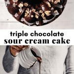 Two images of a glazed chocolate bundt cake arranged in a collage with text overlay