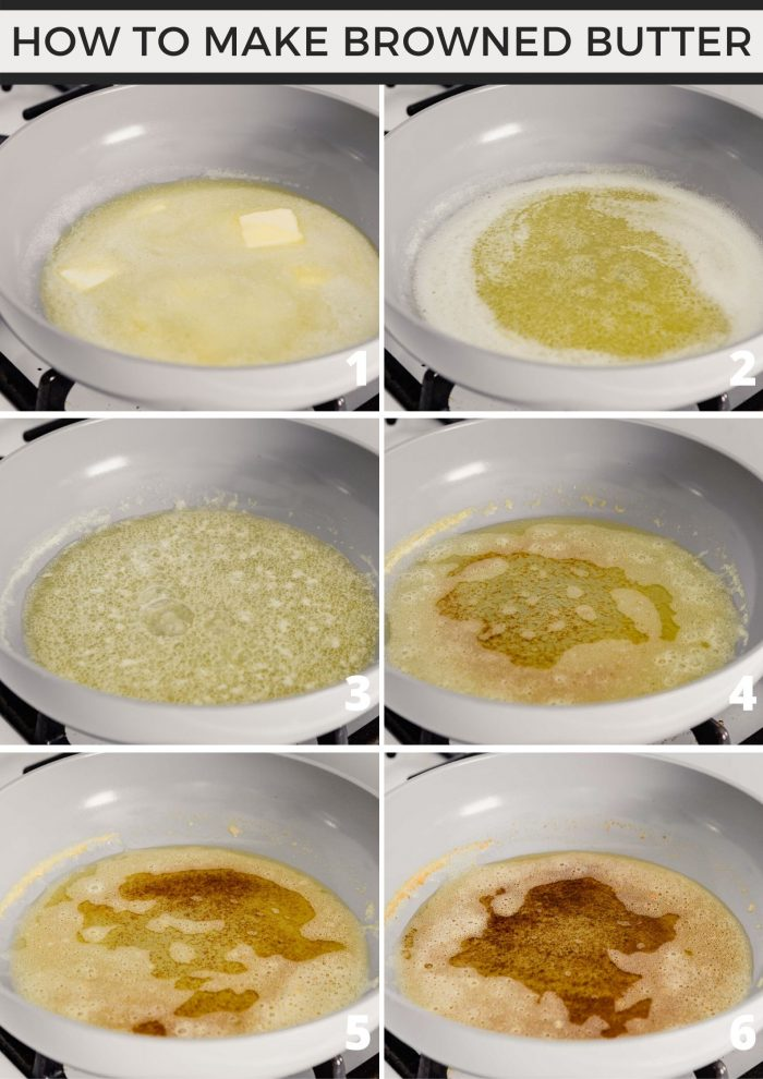 grid of images showing the progression of browning butter