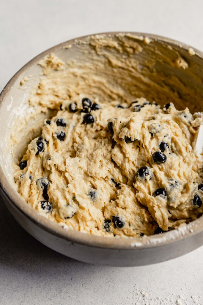 blueberry muffin batter in a bowl