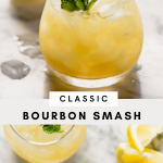 bourbon smash cocktail in a whiskey glass with crushed ice and a mint sprig.