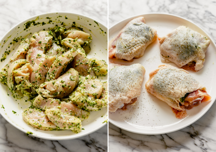 two photos side by side, one photo is a white bowl filled with sliced chicken breast tossed with chimichurri and the second image is chicken thighs with chimichurri sauce tucked underneath the skin