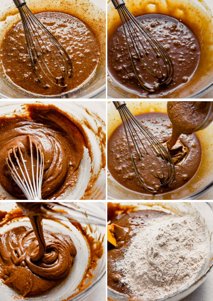 grid of step shots showing the process of making cookies: sugar, oil and eggs whisked together, addition of almond butter, sugar and almond butter mixed together, flour added to sugar mixture