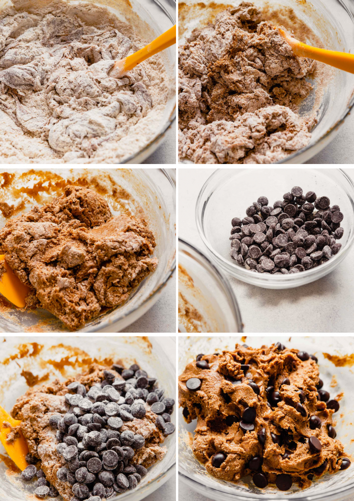 grid of step shots showing the process of making cookies: cookie dough in a bowl, chocolate chips in a bowl, chocolate chips added to dough