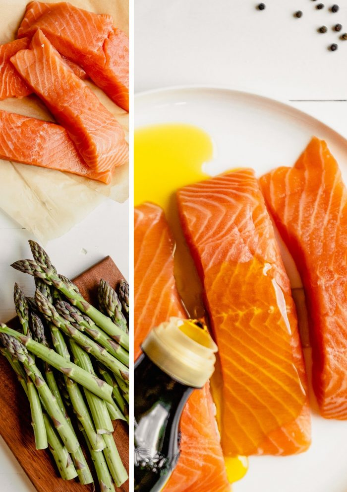 a collage of two images, the first of raw salmon fillets set on brown paper with fresh asparagus set on a brown cutting board, the second image is of raw salmon fillets being drizzled with olive oil
