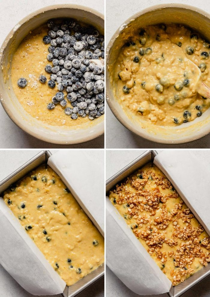 grid of images showing the steps to making lemon blueberry bread; adding blueberries to batter, mixing, adding to a loaf pan, topped with crumb topping