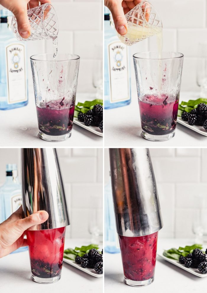 grid of images showing the process of making a blackberry gin basil smashL adding gin, adding lemon juice, shaking the cocktail