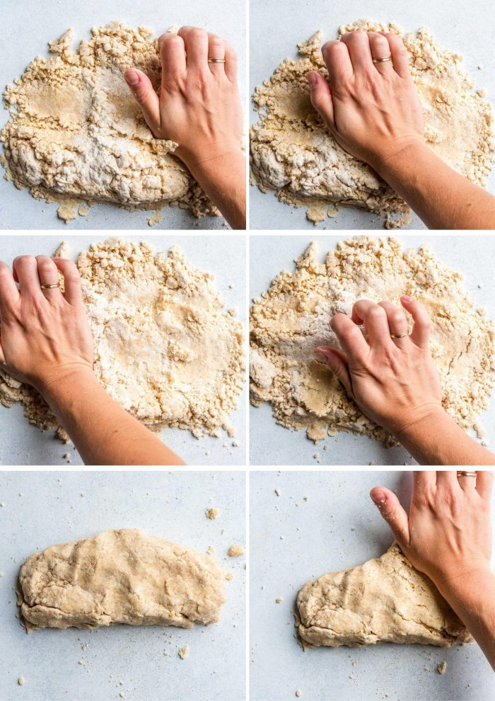 grid of images showing the process for making all-butter pie dough