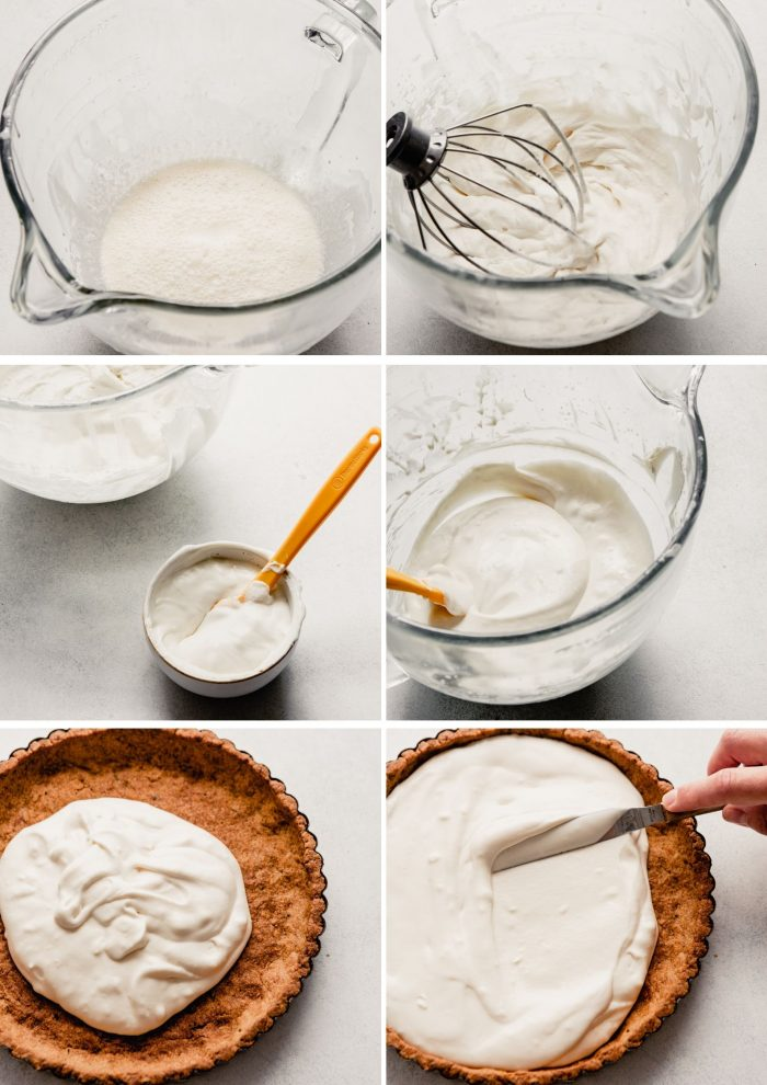 grid of images showing the process for making the whipped filling—whipping the cream to stiff peaks, combining the cream with mascarpone, spreading filling into tart crust