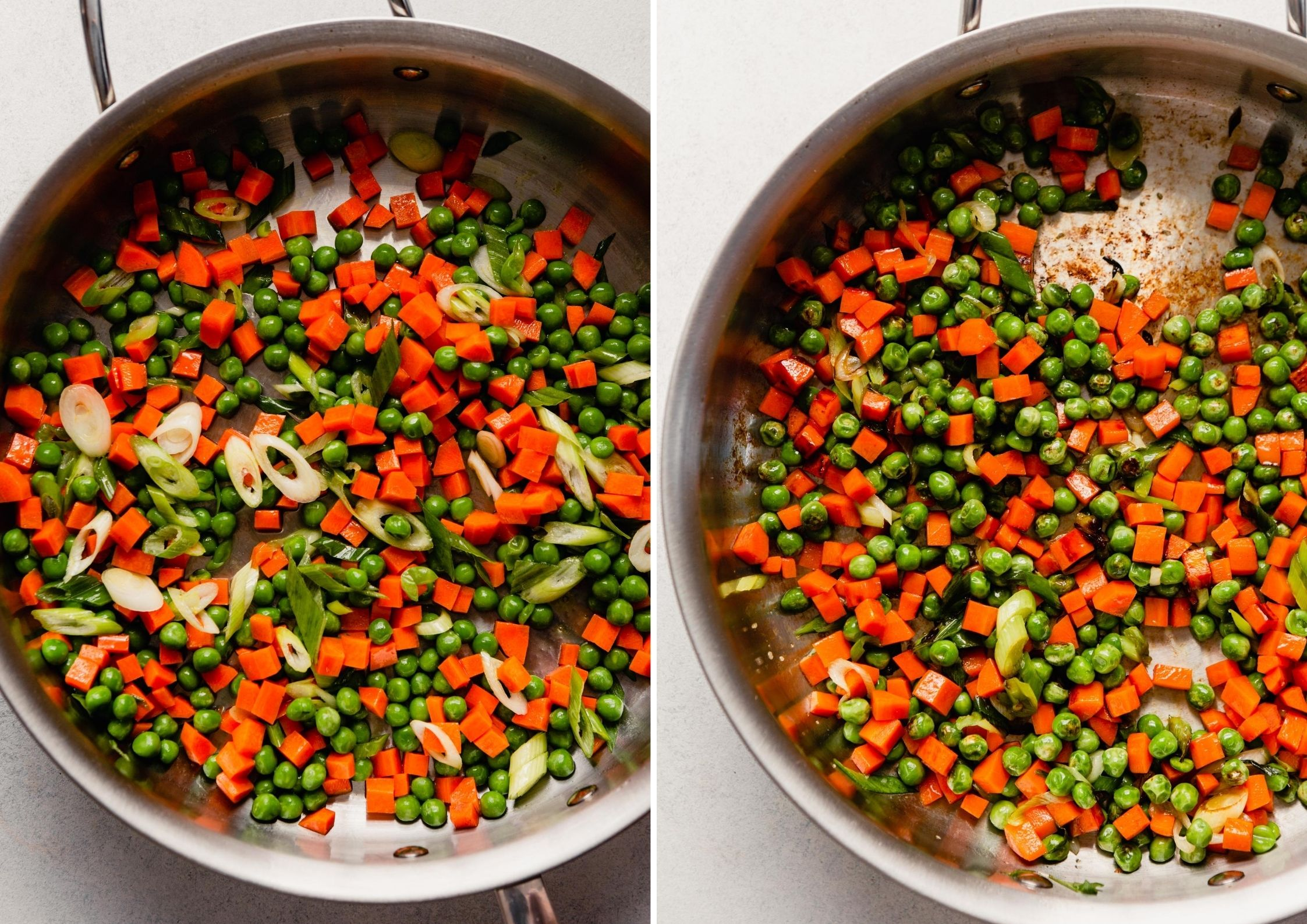 grid of images showing upcooked veggies in a pan and cooked veggies in a pan