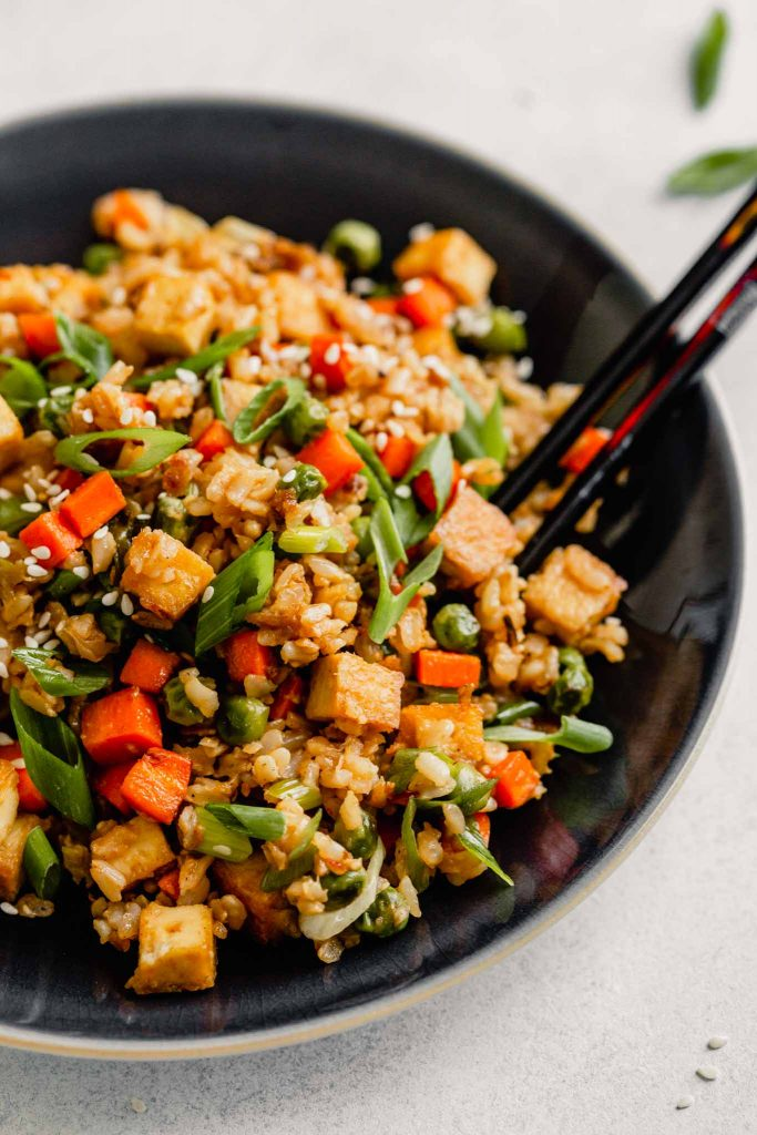 close up image of fried rice with tofu