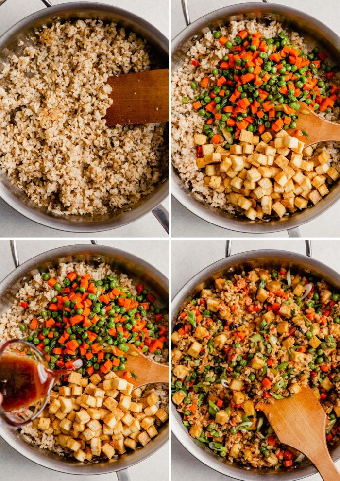 grid of images showing how to make fried rice—cooking rice, adding veggies, adding tofu, adding sauce