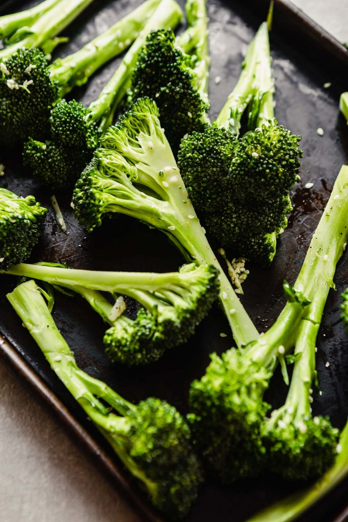 broccoli wedges on a baking sheet