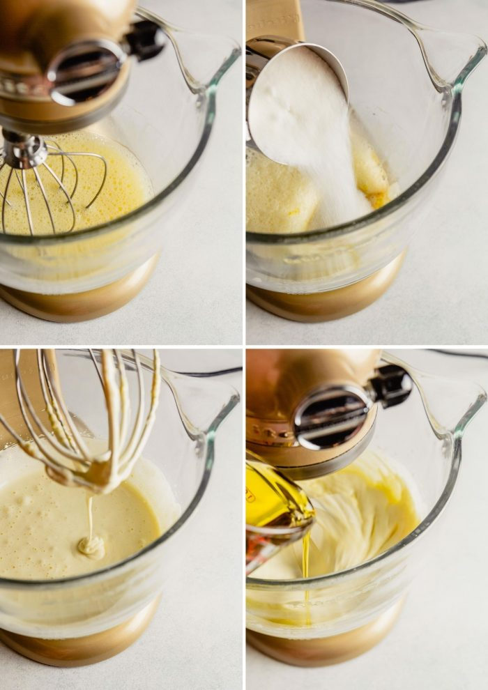 grid of images showing the process of making cake—whipping eggs, adding sugar, adding oil