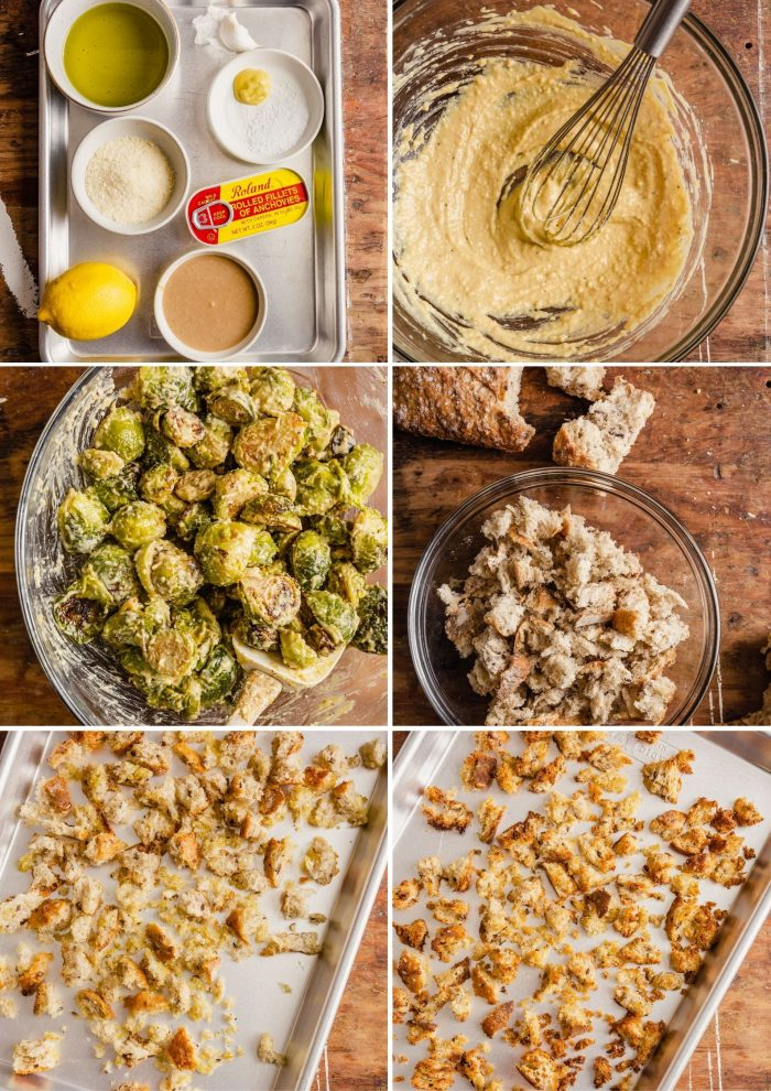 step-by-step grid of images showing how to make tahini caesar dressing and croutons for salad