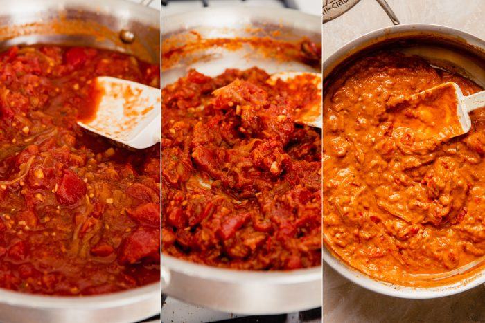 step-by-step grid of images showing how to make sauce for tikka masala