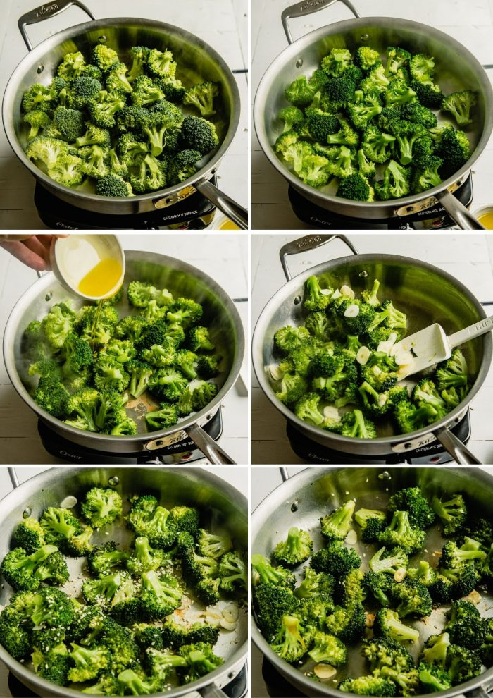 Step-by-step grid of images showing how to saute broccoli