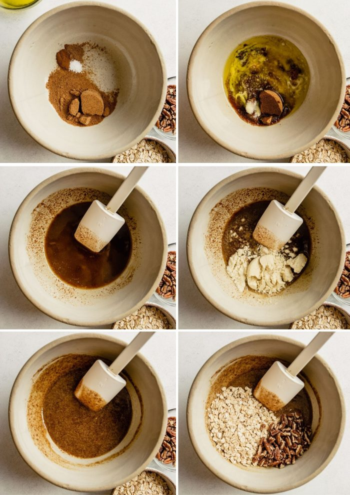 step-by-step grid of images showing how to make the oat topping for healthy apple crisp