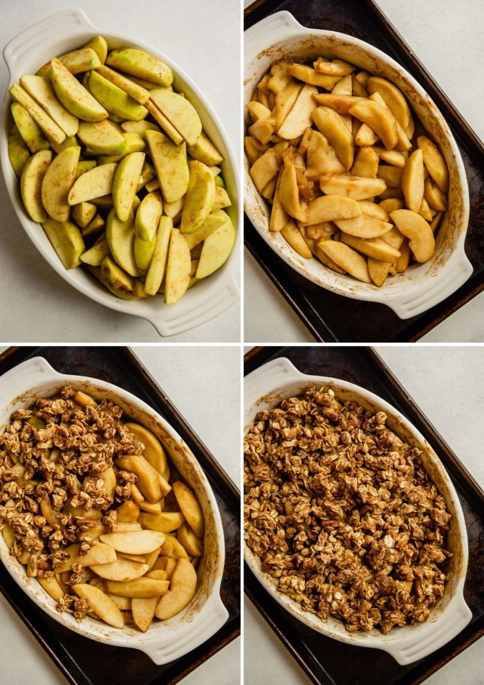 step-by-step grid of images showing how to make bake healthy gluten-free apple crisp
