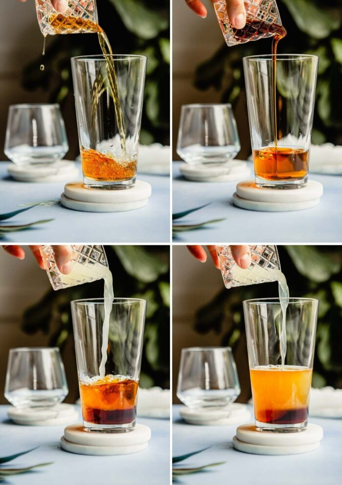 4 images showing someone pour whiskey, lemon juice and maple syrup into a glass
