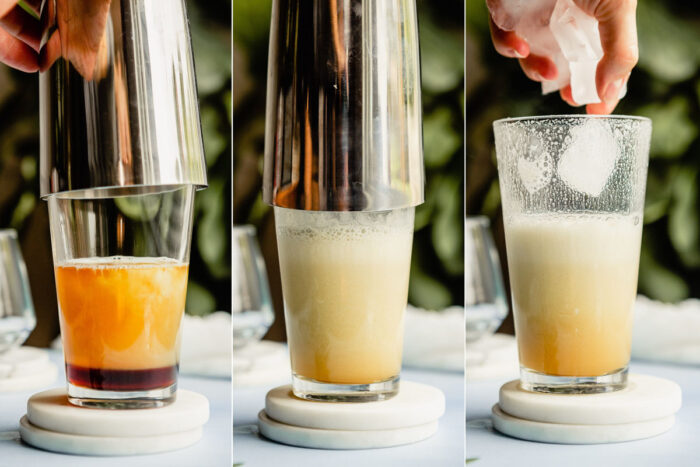 grid of 3 images showing a whiskey sour with egg white shaken