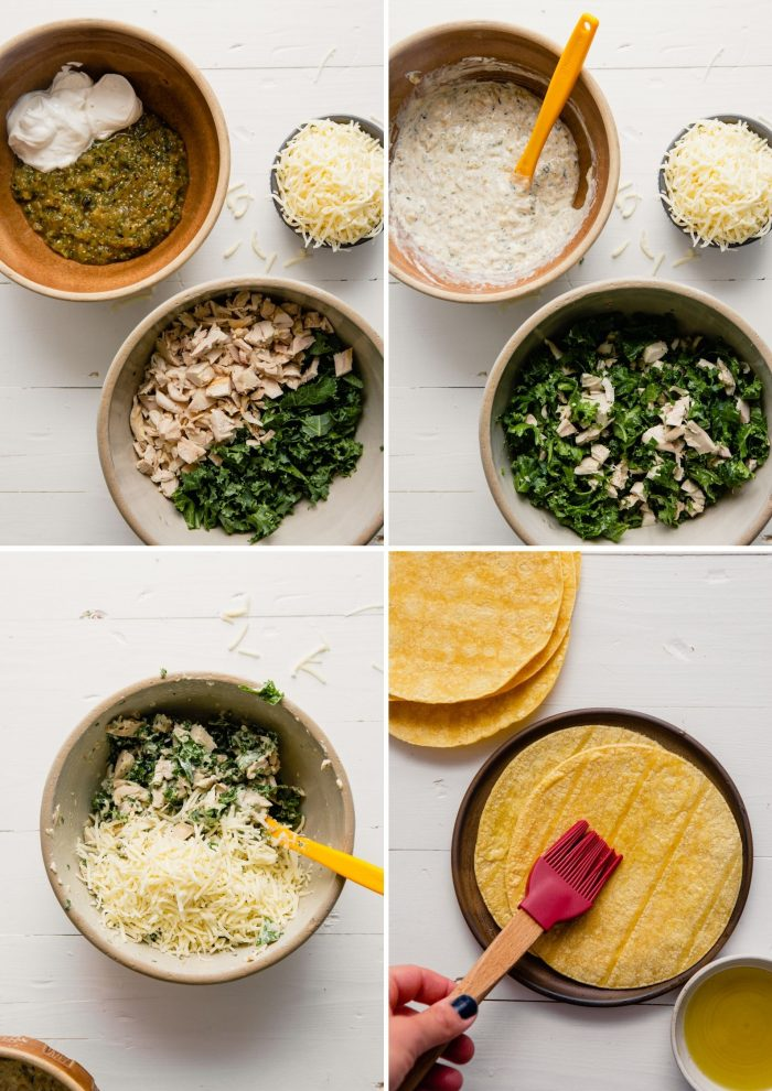 step-by-step grid of images showing how to prepare enchiladas verdes