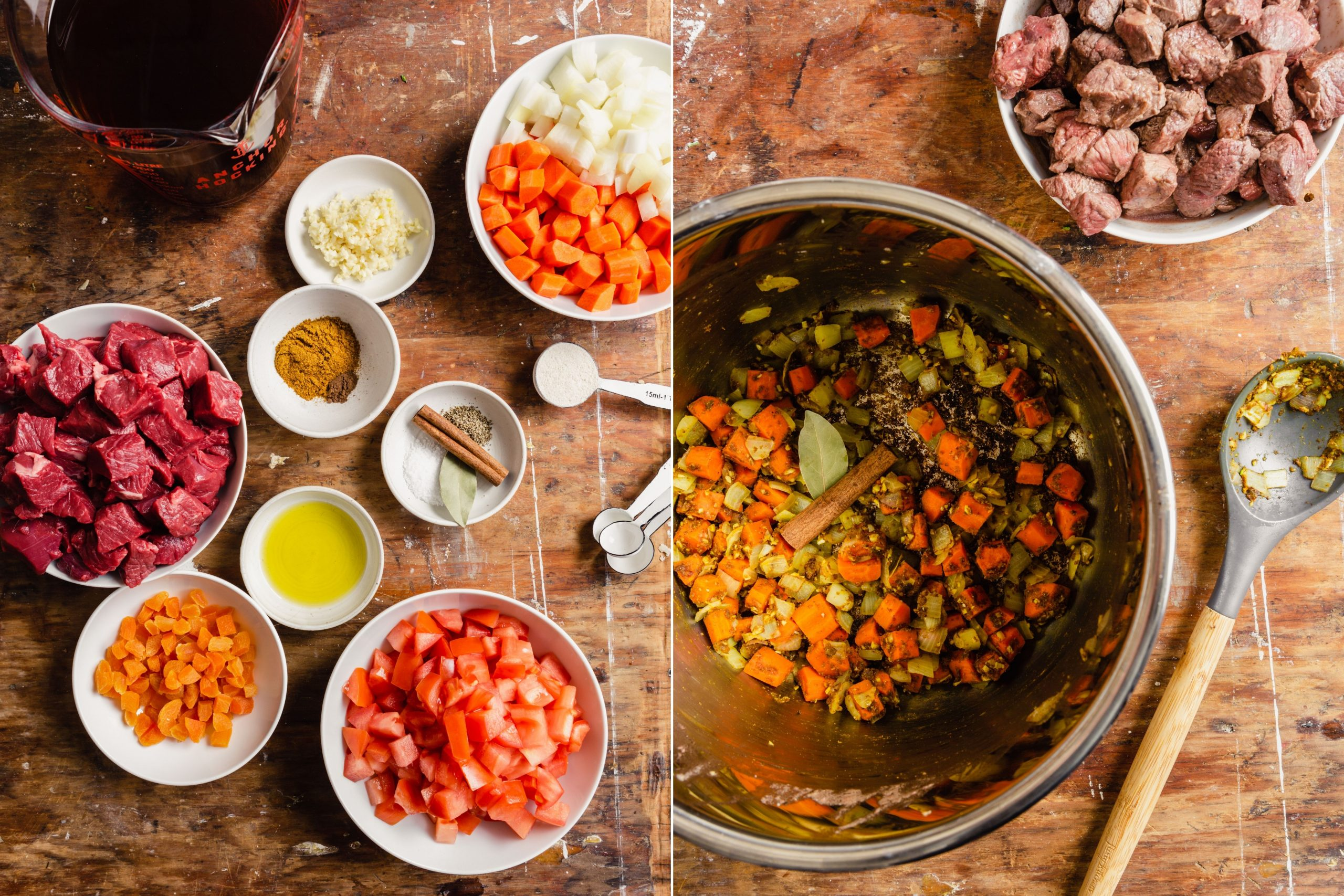 step-by-step grid of images showing how to make Instant Pot Lamb Stew