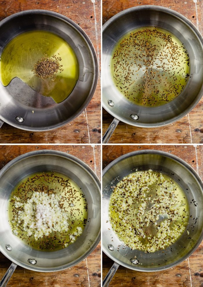 step-by-step grid of images showing how to make the toasted cumin vinaigrette