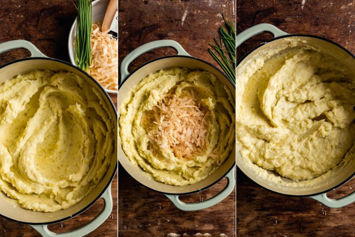 step-by-step grid of images showing how to make cheesy mashed potatoes
