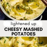 Fluffy mashed potatoes in a white pot set on a wooden table. Olive oil pools on top of potatoes.