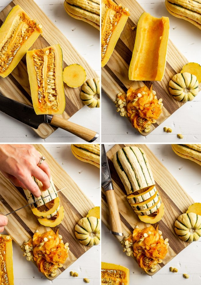 step-by-step grid of images showing how to prepare delicata squash