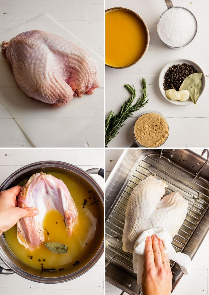 step-by-step grid of images showing how to brine a bone-in turkey breast