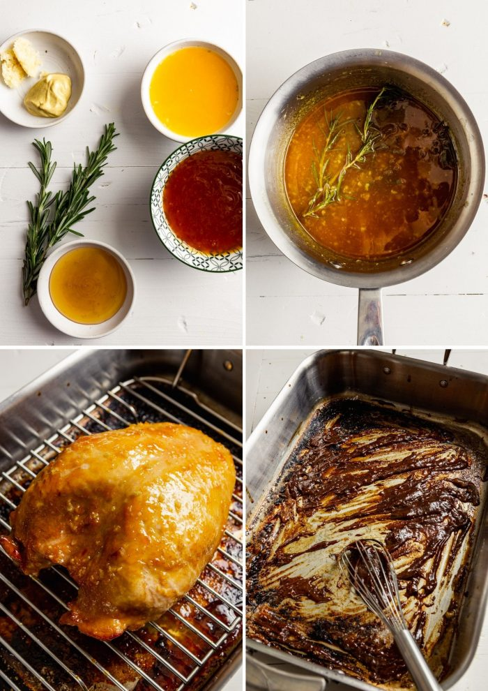 step-by-step grid of images showing how to make a glaze and prep pan gravy