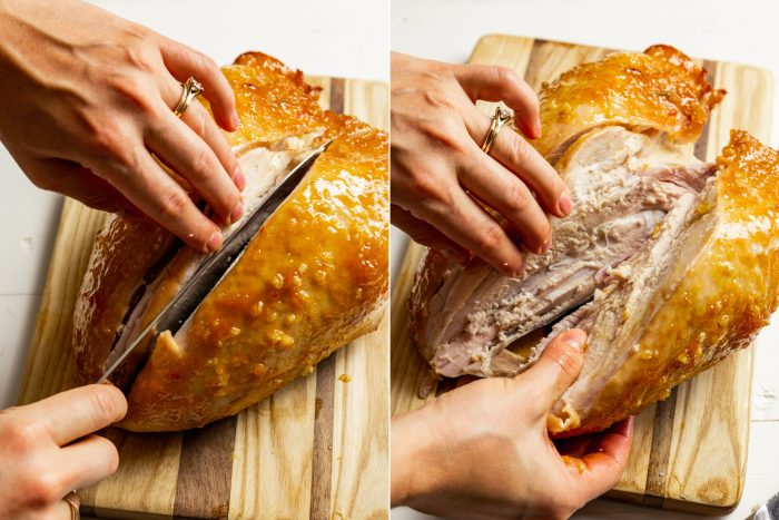 two step images showing how to carve a roasted bone-in turkey breast