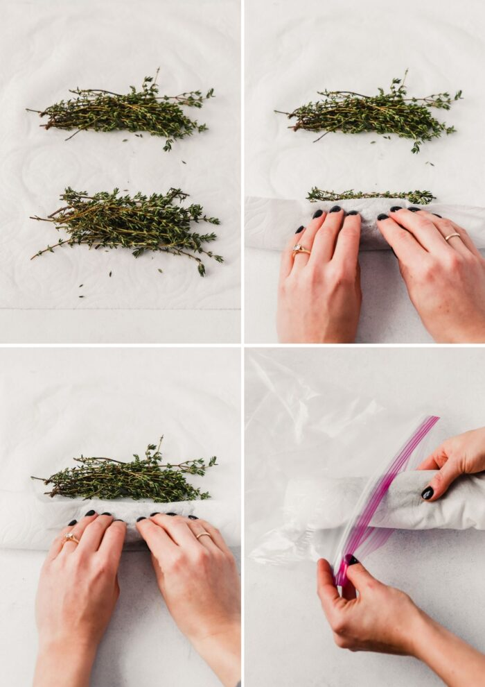 grid of images showing how to store thyme