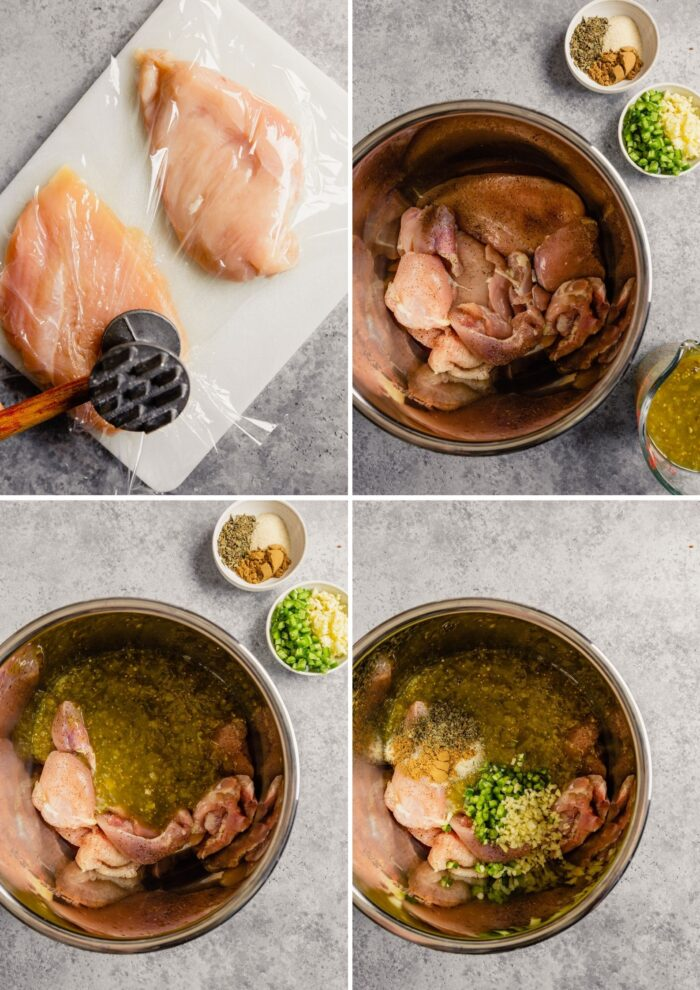 step-by-step grid of images showing how to prep salsa verde chicken
