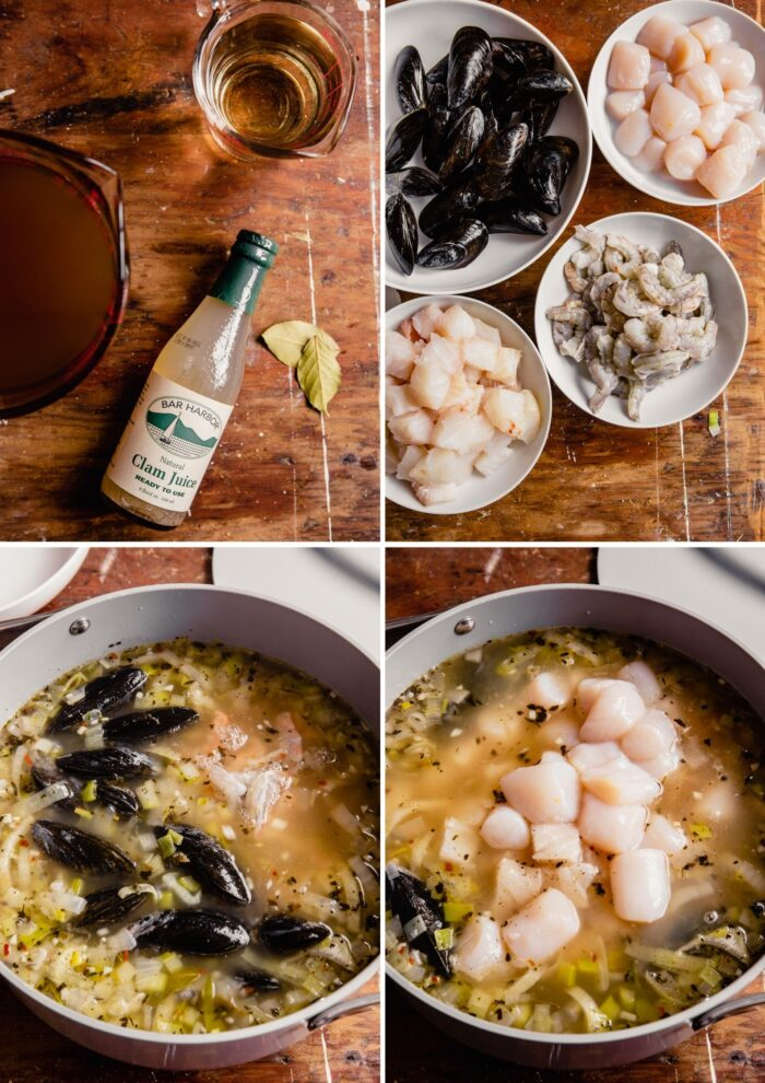 step-by-step grid of images showing how cook seafood soup