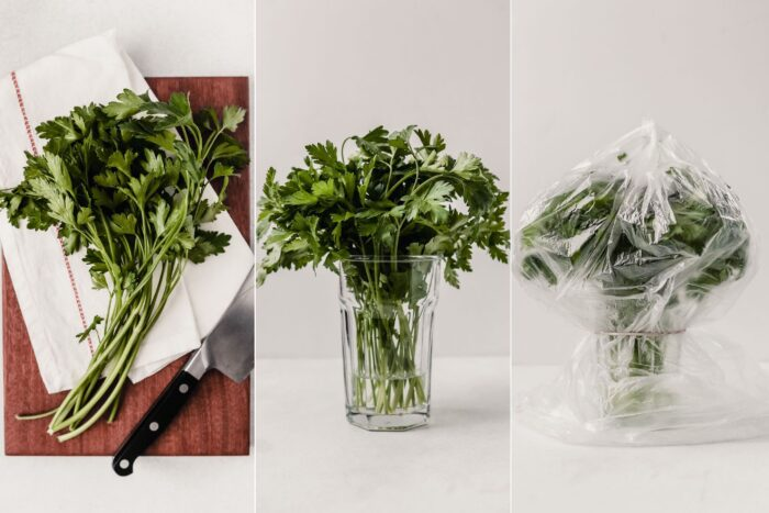 grid of images showing how to prep and store parsley