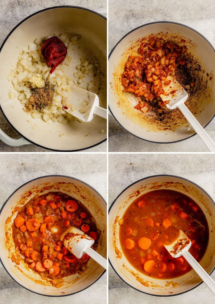 step by step process shots showing how make a tomato-based vegetable soup
