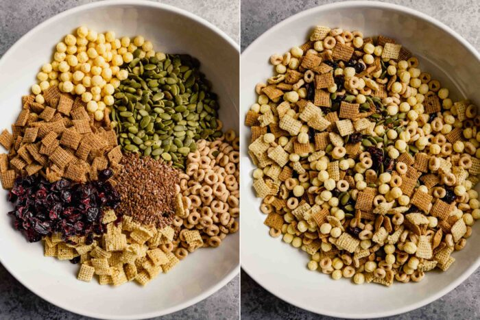 grid of two images showing how to mix cereals